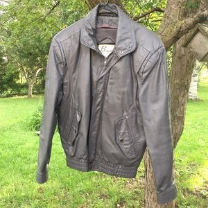 Vintage 80s Grey Leather Bomber Jacket